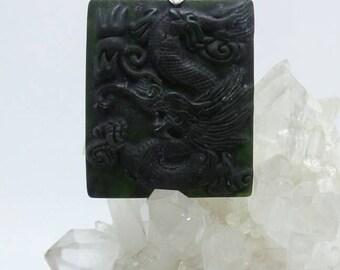 Black Nephrite Jade Carved Dragon Pendant.
