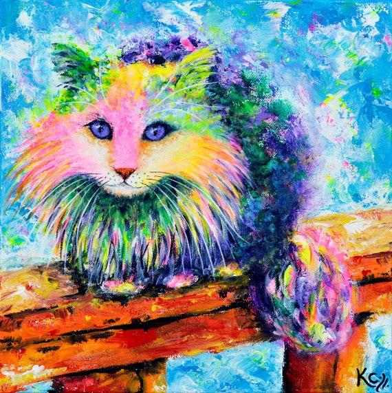 Maine Coon Cat Art. Long-haired Cat Artwork. Colorful Cat Portrait entitled Cali. FREE SHIPPING!