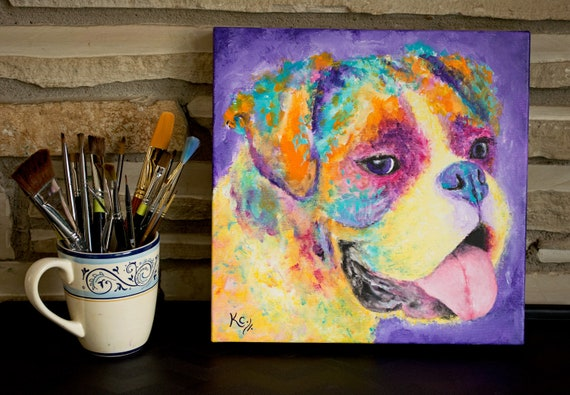Boxer Painting, Original Dog Art, Colorful Dog Wall Art, Dog Artwork. Pet Portrait. 12 x 12 inches. Acrylic on Canvas.