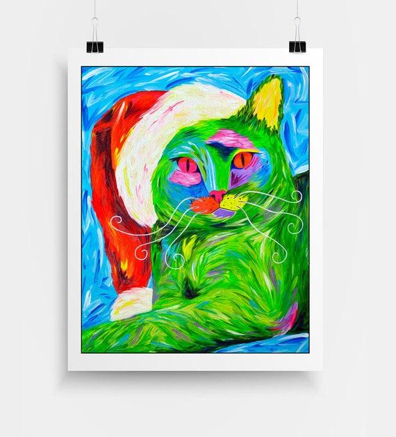 Grinch Kitschy Christmas Art - Cat Art Print - Funny Cat Art - Kitsch Art - Quirky Christmas Wall Art - Christmas Gift Idea -Cat Lady Gift