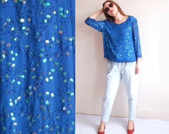 Vintage Women Indigo blue Sequin Heavy Embellished Evening Top Blouse /1980s Woman Clothing Party Evening Embellishments Beaded M L Vtg