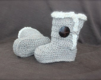 Crochet Ugg Boots for baby/infant, Natural Tan Mix