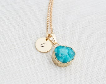 Gold Initial Necklace & Blue Druzy Gem, Druzy Necklace, Personalised Jewellery, Bridesmaid Necklace, Personalised Gift