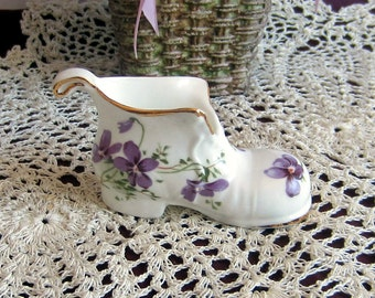Hammersley Un-Named Violets Miniature Bone China Boot