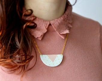 Polka dot clay necklace Handmade geometric pendant Gold polka dot Clay jewelry Cute jewellery Anniversary gift