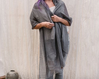 Grey Silk Wool Scarf, Super Soft And lightweight Long Thin Wrap Shawl Scarf By Hanamer