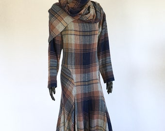 1980s Norma Kamali Gauze Plaid Dress