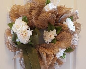 Spring hydrangea and polyburlap wreath