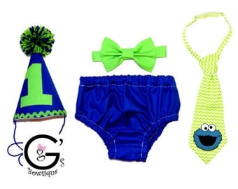 Cookie Monster Blue & Green Smash Cake Smash Birthday Outfit baby boys Toddler Photo Prop Bow Tie