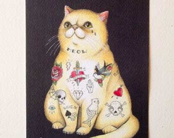 Tattooed cat limited edition print - digital print on rough paper