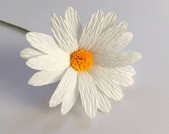 Crepe Paper Daisy, Single Stem, Paper Flowers, Wedding, Events, Home Decor, Gifts