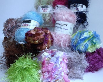 Schachenmayer Nomotta Brazilia Color Salsa Yarn Estelle Shimmer Yarn Lion Brand Fun Fur Time Crafts Knitting Essentials Novelty Yarn Bundle
