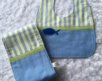 Bib And Burp Cloth Reversible Set With Appliqued Fish In Turquoise Blue and Sea Mist Green Flannel. Shower Or Newborn Girl Or Boy