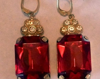 DIVA Vintage - Ravishing Red Sparkly Holiday or Party Earrings