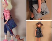 fabulous big bold and beautiful reversible cross body shoulder bag for Sindy, Tammy, Tressy, Barbie, Blythe doll