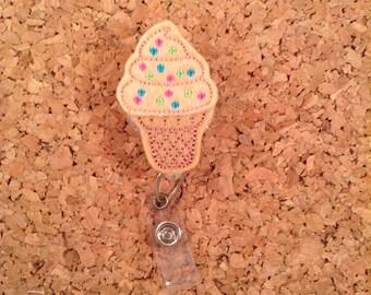 Badge Reel | ICE CREAM Id Badge Reel |  Badge Reel | Retractable Name Holder | Teacher Gift | Nurse Gift | Hospital Worker | PEACH 652