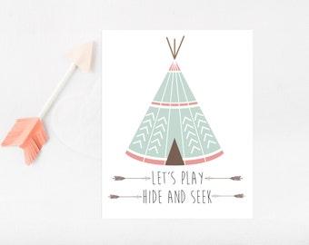 Tribal baby decor, Tribal Nursery Decor, Teepee print, Children Teepee, Kids Teepee, Cowboys and Indians, Play Room Decor, Play Room Art