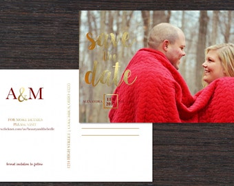Simplicity and Gold Save the Date Postcard (set of 30)