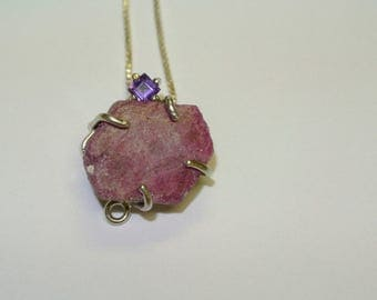 Rough ruby and Amethyst sterling silver pendant