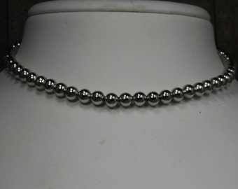 Used Silver Toned Beaded Necklace
