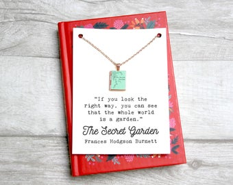 """The Secret Garden Book Locket Charm Frances Hodgson Burnett Quote Jewelry Necklace """"If you look the right way the whole world is a garden"""""""
