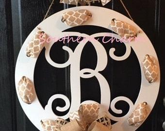 Wood Monogram Door Hanger with Ribbon