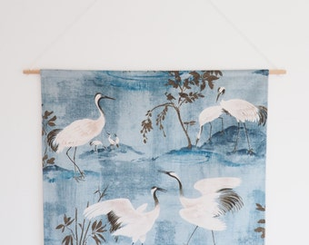Fabric Wall Art, Blue, Birds, Fabric Wall Hangings, Wall Decor, Handmade