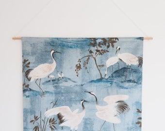 Fabric Wall Art, Blue, Birds, Fabric Wall Hangings, Wall Decor, Handmade