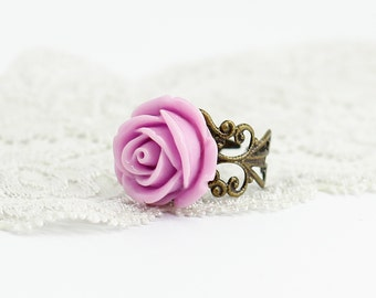 Rose flower ring Filigree ring Cocktail ring Romantic gift for her birthday gift for sister gift for wife gift for women gift for girlfriend
