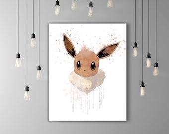 Pokemon Eevee Kawaii Art, Nursery Print, Game Poster Kids, Pokemon Go Cute Home Decor, Brown Wall Art, Anime Poster, Japanese Watercolor