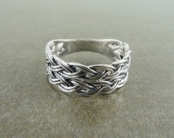Celtic Braided Ring, Silver 925, Hipster Woven Ring Handwoven Man Braid Band Tribal Rings Ethnic Men jewelry oxydyzed Band Valentines Day