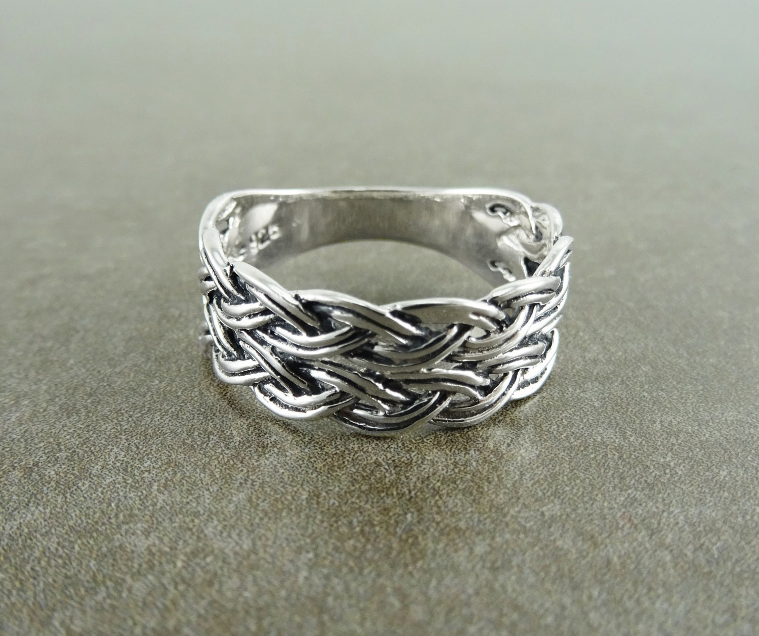 Celtic Braided Ring Silver 925 Hipster Woven Ring Handwoven