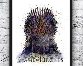 Game of Thrones Watercolor Print, Iron Throne, Movie Poster, Winter is Coming, Stark Targaryen Lannister, Home Decor, Wall Art - 488-2