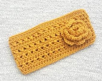 Crochet Ear Warmers, Crochet Headband, Headwrap, Ear Warmers, Crochet Headwrap, Yellow Ear Warmers, Gold Headband, Adult Headband, Headband