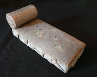 SALE Antique Vintage Dollhouse Miniature Handpainted Floral Silk Reclining Chaise Lounge Pleated Box Bed Fainting Couch