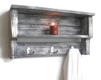 White Shabby Chic Bathroom Shelves With Hooks Chunky Bathroom Shelves Reclaimed Wood Pallet Shelf