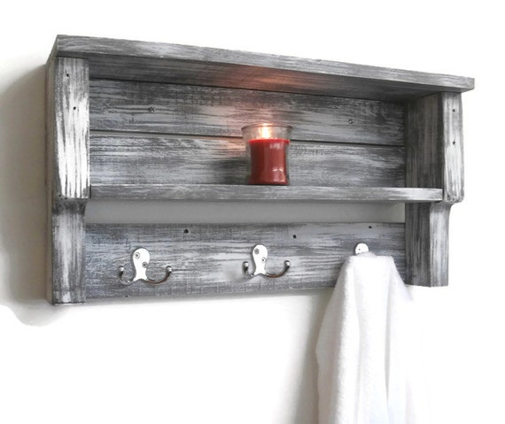 White Shabby Chic Bathroom Shelves With Hooks Chunky Bathroom