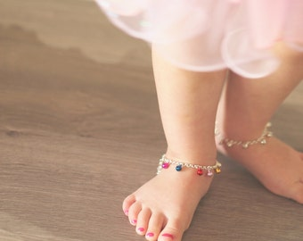 Boho Baby Bell Anklet in Gold or Silver | Girls Ankle Bracelet | Traditional Gift | Girl's Jewelry | First Birthday Outfit | Dancing Bells