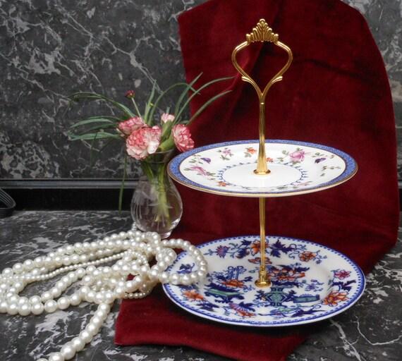 VINTAGE BON BON Stand - Jewellery Stand - Japanese style - Cake Stand - English china - 1930's