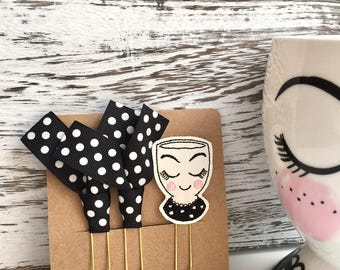 Planner Clip Set:  Target Planner Cup Girl  -  Choose from Cup Clip Only or Set with Cup Clip and Two Ribbon Clips