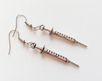 SYRINGE Earrings Syringe Jewelry Syringe Pendant Syringe Gift Doctor Jewelry Doctor Earrings Doctor Gift Nurse Gift Nurse Earrings Hospital