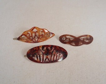 fabulous vintage lot 3 hairs combs peignes 1940 carved hand made france rare