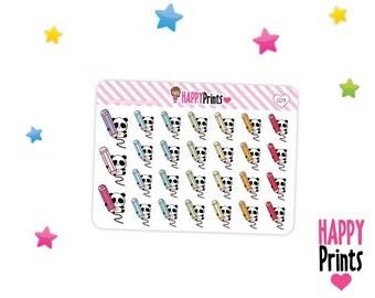 Panda bear, Writing, Drawing, Planner Stickers, Kawaii stickers