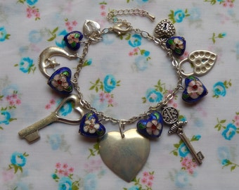 Love Charm Locket Key Heart Silver Plated Bead Bracelet