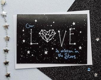 LOVE Constellation Card | Space Anniversary Card, Romantic Card, Stars Anniversary Card, Constellation Cards | Cards for Her, Cards for Him