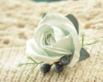 White rose brooch flower handmade Jewelry roses brooch Blue accessory Flower pin clip roses Blue broach jewelry for weddings Blue roses Gift