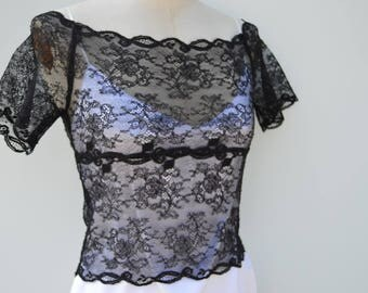 Top Black Lace crop top lace, Black Lace shoulder cover