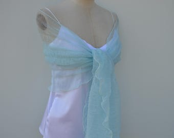 Blue Sky stole cocktail, married stole light blue tulle