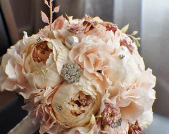 Peony Bridal Bouquet, Silk Wedding Flowers, Brooch Bouquet, Champagne Wedding Flowers, Vintage Wedding, Shabby Chic Wedding Bride Bridesmade