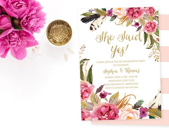 She Said Yes Invitation, Pink Gold Engagement Party Invitation, Floral Engagement Party Invitation, Boho Chic Engagement Invitation